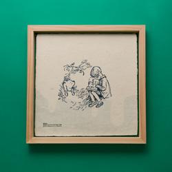 蛭谷和紙の活版印刷と国産杉の額縁フレーム(蜂蜜)