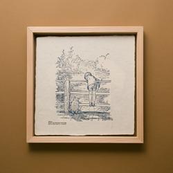 くまのプーさん 蛭谷和紙の活版印刷と国産杉の額縁フレーム(Tシャツ)