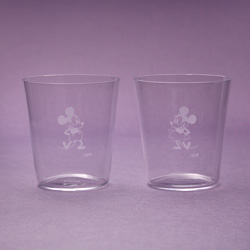 ミッキー、ミニー(1928年)/江戸硝子薄造りのペアグラス