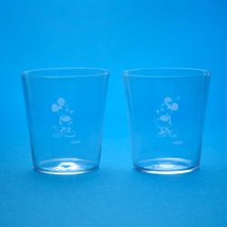 ミッキー、ミニー(1930's)/江戸硝子薄造りのペアグラス