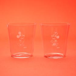 ミッキー、ミニー(1980's)/江戸硝子薄造りのペアグラス