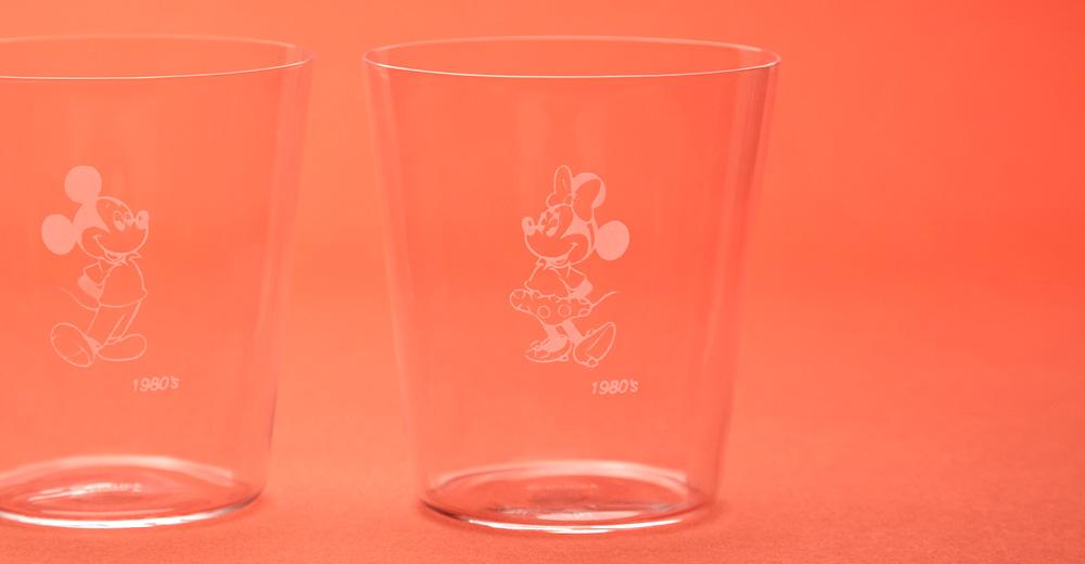 ミッキー、ミニー(1980's) 江戸硝子薄造りのペアグラス