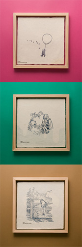 川原隆邦氏、湊哲一氏による「くまのプーさん/蛭谷和紙の活版印刷と国産杉の額フレーム」